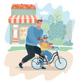 father teaching daughter to ride bike outdoor vector image