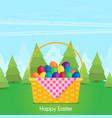 flat eggs in wicker basket vector image vector image