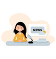 flat style woman character young tv host vector image vector image