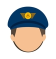 front face pilot with hair and hat vector image