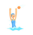 girl character in swimsuit and goggles playing in vector image vector image