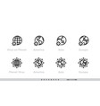 globe coronavirus pandemic icons set world vector image