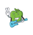 green apple character cartoon with guitar vector image vector image