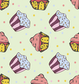 Hand drawn seamless pattern with cute cupcakes vector image