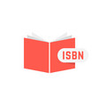 isbn sign with red book vector image vector image