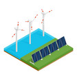 isometric plant solar panels and offshore wind vector image