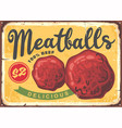 meatballs poster design in retro style vector image vector image