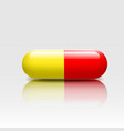 Medical pill red yellow colors vector image vector image
