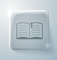 open book Glass square icon with highlights vector image vector image