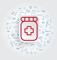 pill pharmacy icon on handdrawn healthcare doodles vector image