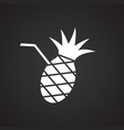 pineapple cocktail on black background vector image