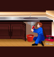 plumber fixing a leaky faucet vector image