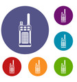 portable handheld radio icons set vector image vector image