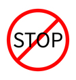 Prohibition no symbol Red round stop sign Template vector image vector image