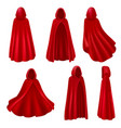 realistic red mantles collection vector image vector image