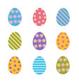 set of colorful easter eggs decorated stripes vector image vector image