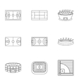 Sports stadium icons set outline style vector image