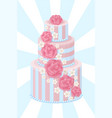 three-tier wedding cake decorated with glaze roses vector image