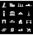 white landmarks icon set vector image