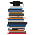 Graduation cap on book stack vector image