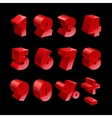 Red shiny 3d thick numbers isolated font on black vector image