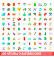 100 natural disasters icons set cartoon style vector image vector image