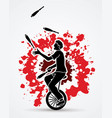 a man juggling pins while cycling on bicycle vector image vector image