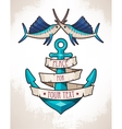 Anchor and fish vector image vector image