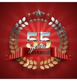 Anniversary 55th ring with red ribbon vector image