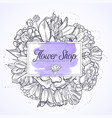 bouquet of marygold and bluebells vector image vector image