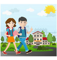 boy and girl going to school vector image
