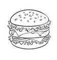 burger sandwich coloring book vector image