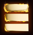 burning papers set with different power of fire vector image vector image