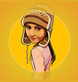 cartoon girl in a warm knitted hat vector image vector image