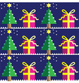 Christmas gifts seamless geometric pattern vector image