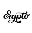 crypto hand written calligraphy text logo vector image