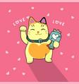 cute lucky cat cartoon on pink heart vector image vector image