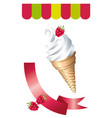 delicious ice cream in a cup vanilla decorated vector image