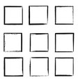 grunge frames isolated black square borders vector image vector image