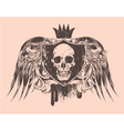 grunge t-shirt design with skull vector image vector image