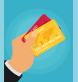 hand holding credit card flat vector image vector image