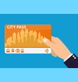 hand with city pass vector image vector image
