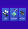 isometric wireless technologies banner set vector image