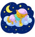 kitty sleeping cartoon vector image