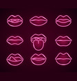 lips neon signs thin line icon set vector image vector image