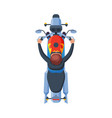 male motorcyclist riding motorcycle view from vector image vector image