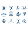 Milk label logo badges collection icons vector image vector image