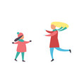 mother and daughter running to each other vector image vector image
