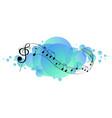 musical melody symbols on sky blue splotch vector image