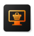 orange glowing computer monitor with shopping vector image vector image